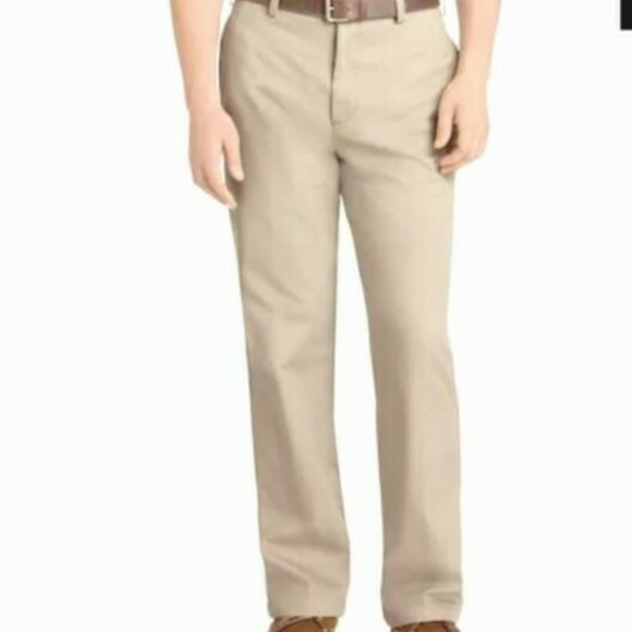 NEW Mens IZOD American Chino Straight Fit Flat Front 100/% Cotton Khaki Pants NWT